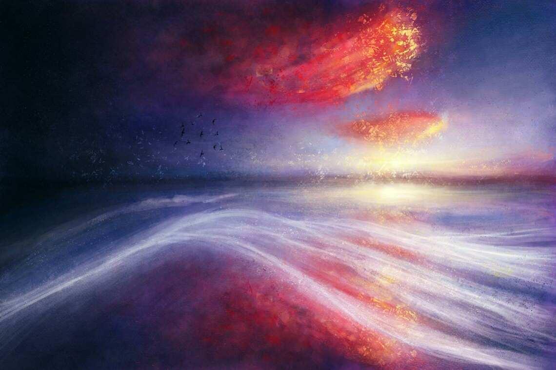 """Продолжаю свои """"первые попытки рисования"""", на этот раз - рисунком с морем и облаками.  Этот арт я рисовал не полностью из головы, а опираясь на фотографию закатного неба и моря."""