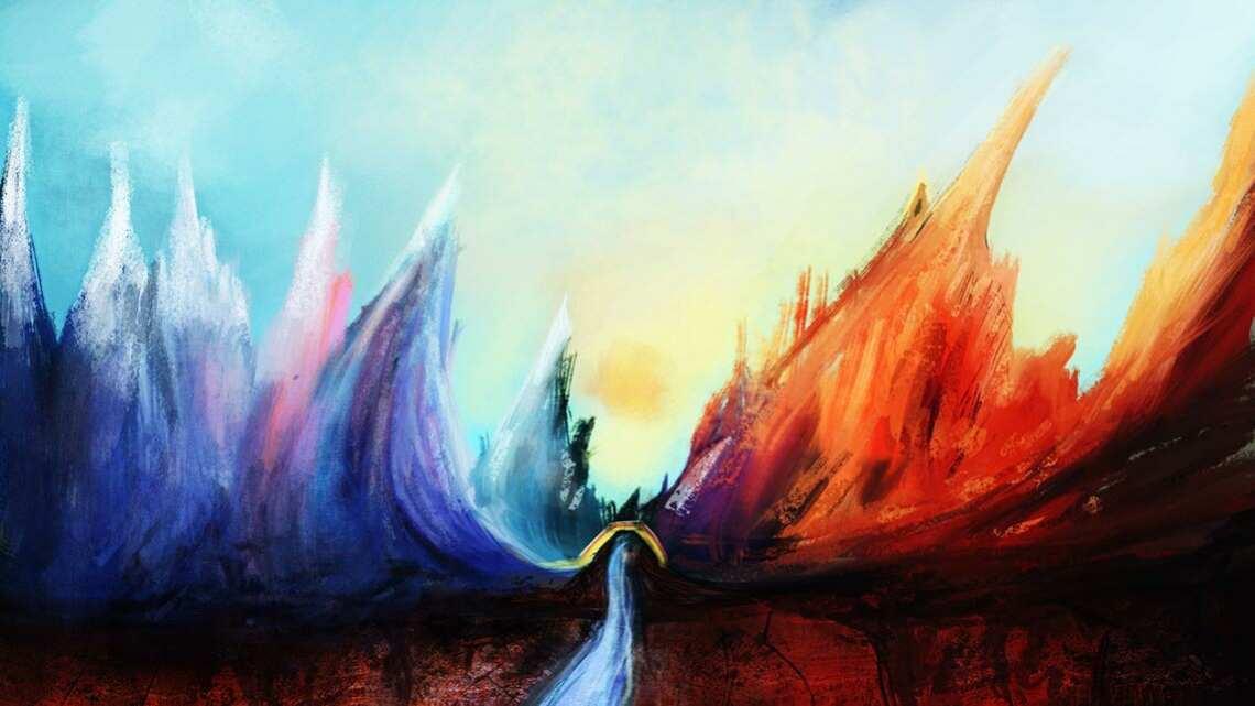 """Арт из серии """"настроение - разбрызгивать краски"""". Ничего серьёзного, простой скетч для вашего удовольствия. )  Пейзаж, горы и реки красных и голубых оттенков. На рисунке также есть небо жёлто-голубого цвета, река, мост."""