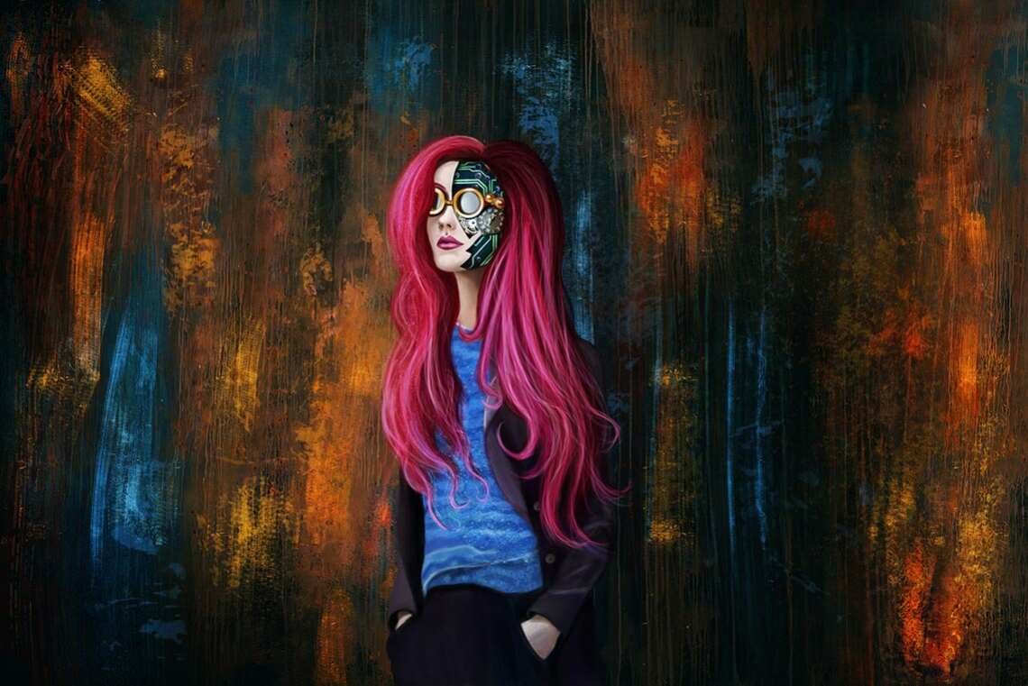 Первые попытки рисования привели меня к стимпанку. На арте - девушка с очками на лице, микросхемами и деталями, изображённая на цветном фоне.