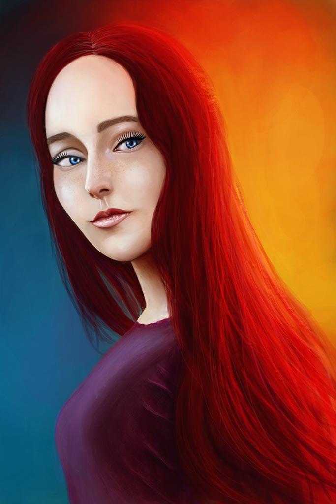 Портрет рыжеволосой леди на оранжево-голубом фоне