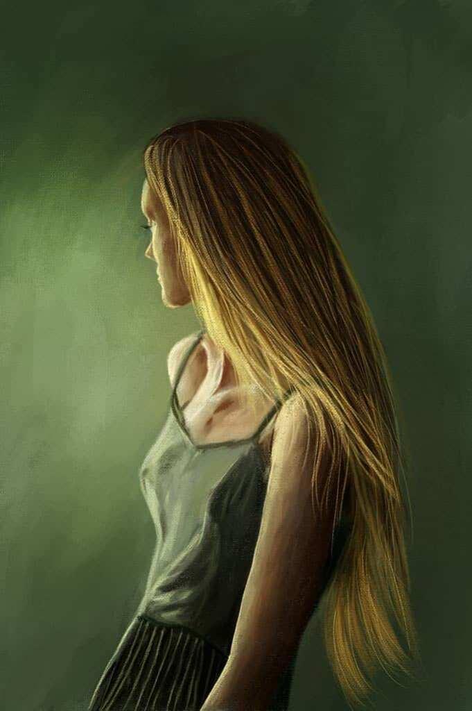 Рисунок с девушкой, которая смотрит в сторону стены. В рисунке преобладают тёплые и холодные оттенки зелёного, коричневого, жёлтого