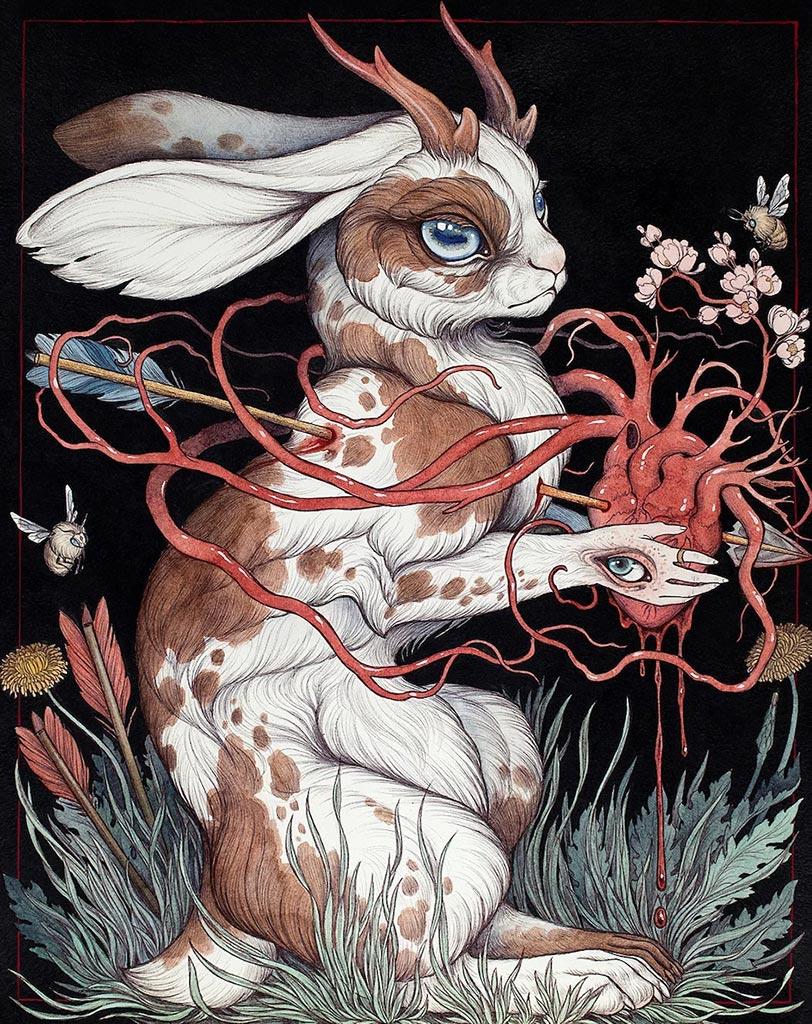 """""""Heartache"""" (""""Боль в сердце"""") из цикла """"Современная мифология"""" (""""Contemporary Mythology""""), художница Хакетт Кейтлин"""