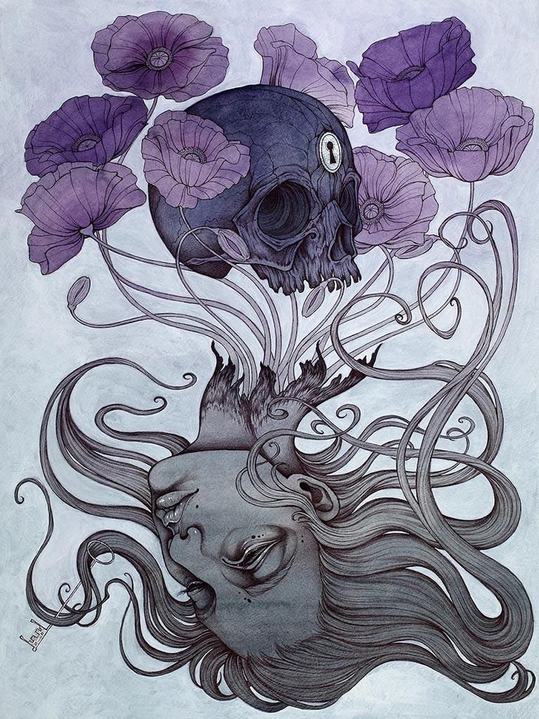 Картина с девушкой, из головы которой растут фиолетовые цветы, тянущиеся к черепу с замочной скважиной