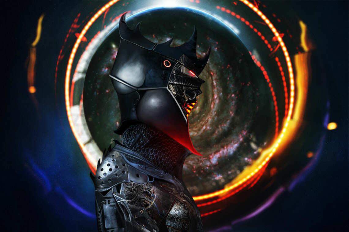 """Добавляю фон для арта """"Overlord Star Knights"""".  На фото - мрачный рыцарь в доспехах на абстрактном фоне с огнём и галактикой."""