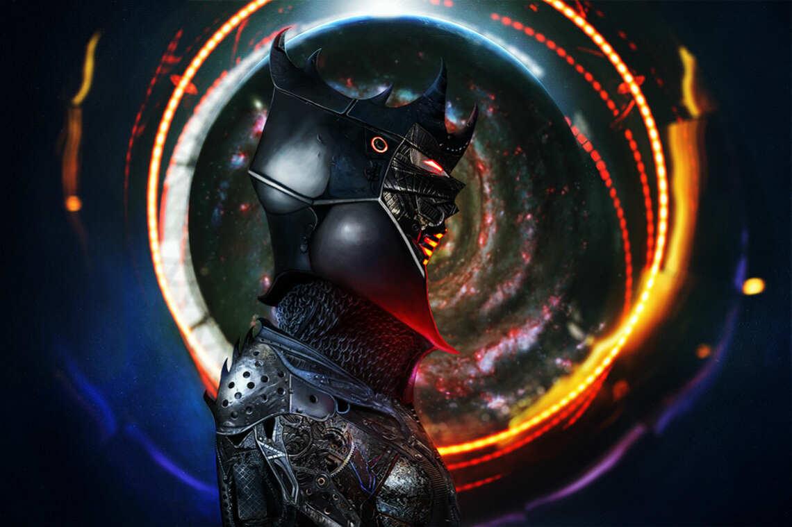 Киберпанк рыцарь на фоне галактике и светящихся кругов