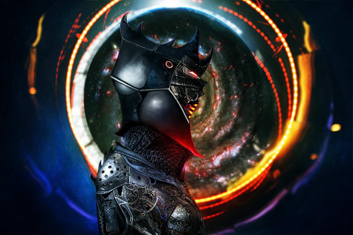 Мрачный рыцарь на фоне кольца огня и Галактики