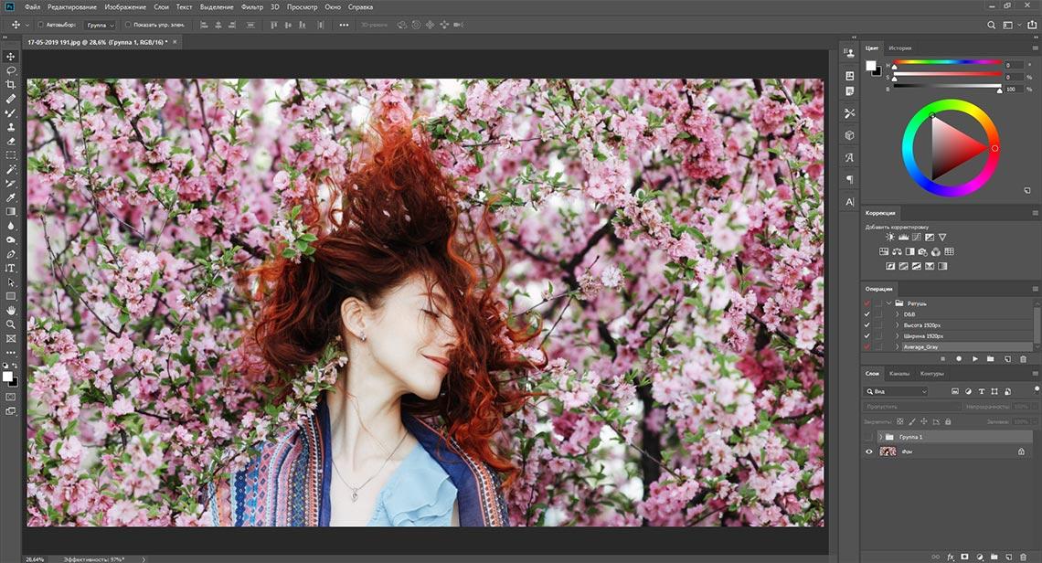 Девушка в цветах - пример фото для создания ручного фильтра по выделению деталей из теней и ярких областей