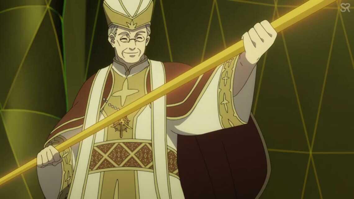 """Архиепископ с копией священного оружия в руках (источник - аниме """"Восхождение героя щита"""")"""