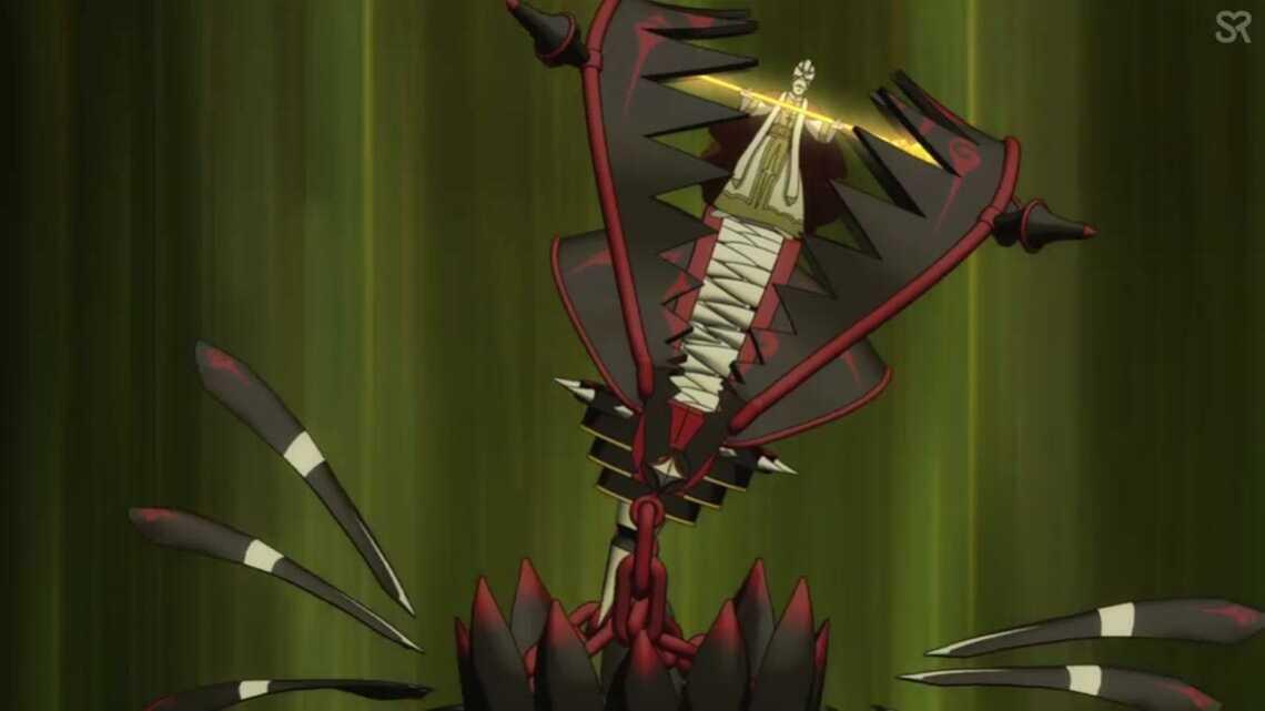 Воплощение гнева Наофуми - чудовищный монстр с челюстями, пожирающий архиепископа