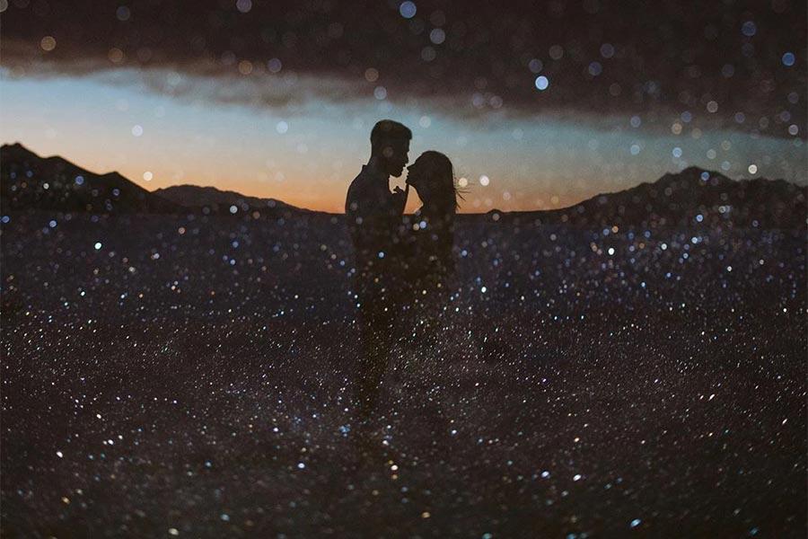 Звёздное небо с двойной экспозицией