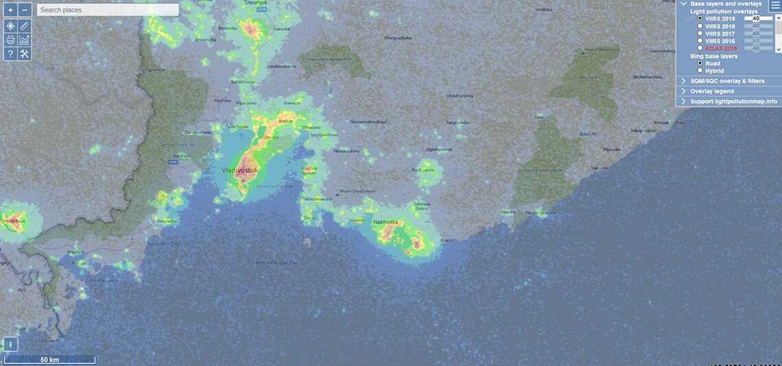 Карта светового загрязнения Приморского края (карту важно знать для того, чтобы правильно фотографировать звёздное небо)