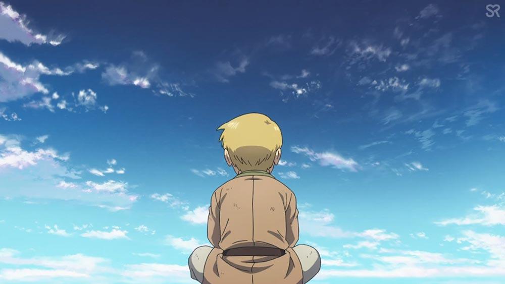 Торфин Торссон мечтательно смотрит на небо в аниме Vinland Saga | Сага о Винлданде