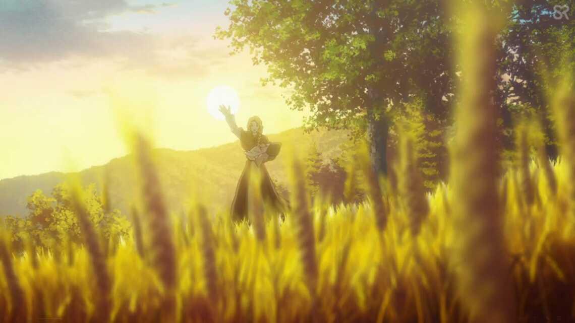 Хельга, жена Торса в аниме Vinland Saga (стоит в поле и машет рукой)