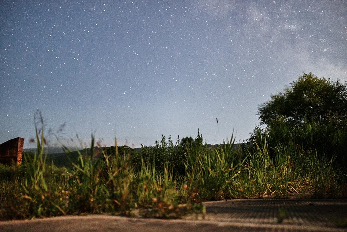 Звёздное небо, угол млечного пути и полёт светлячков в Приморье в одном кадре