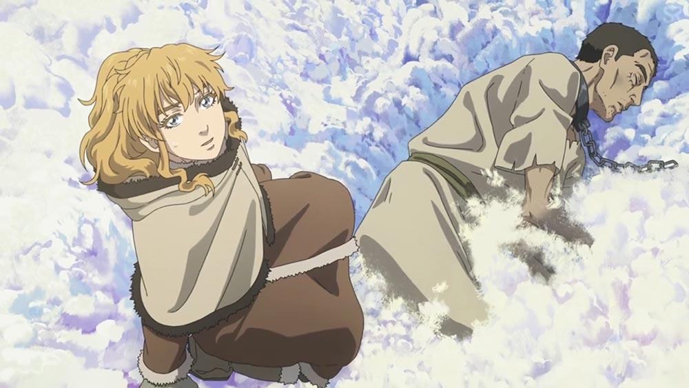 """Старшая сестра Торфинна находит раба у дома, аниме """"Сага о Винланде"""""""