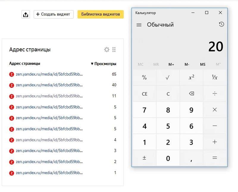 Подсчёт посетителей Яндекс Дзен с канала при помощи калькулятора для сравнения статистики из метрики и статистики на самом канале