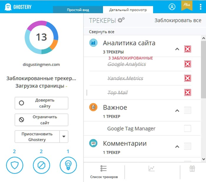 Использование дополнения Ghostery для тестирования счётчика Яндекс Метрики на AMP версии сайта WordPress