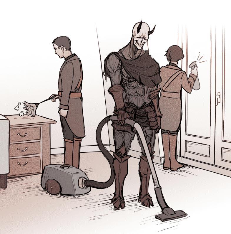 Астарот и призванные демоны убираются в комнате Пауля