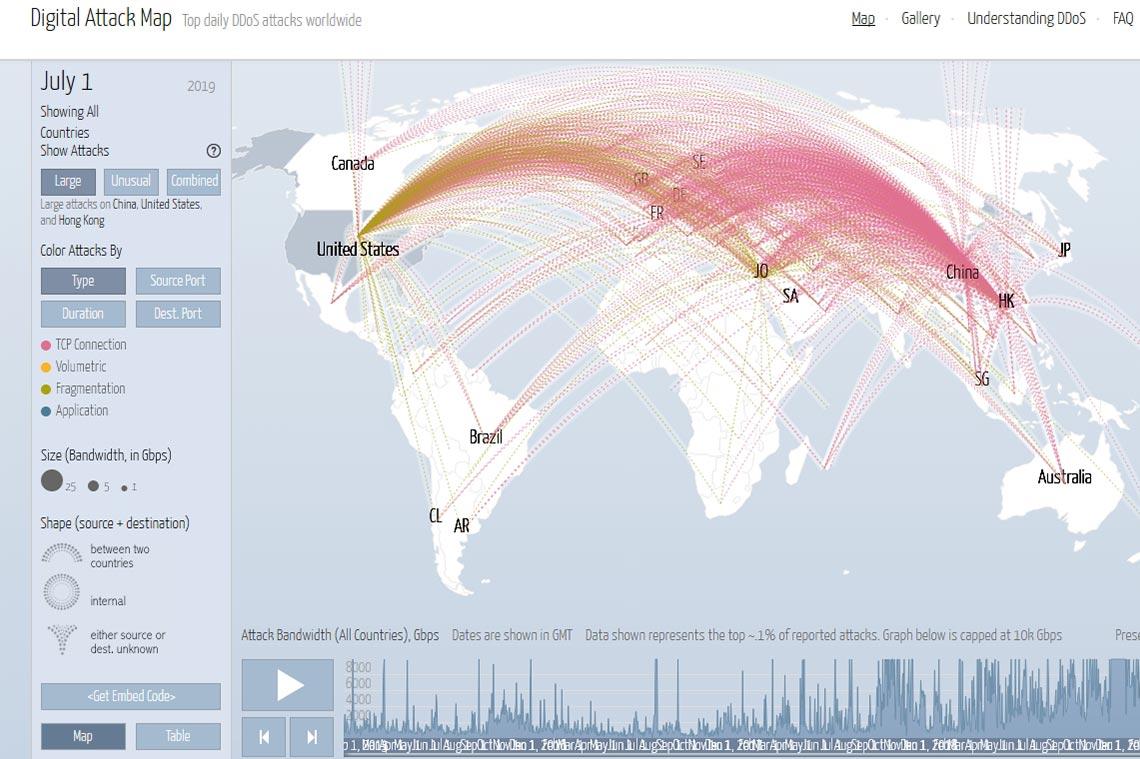 Карта DDoS-атак 1-2 июля 2019 года 9причина или последствие падение Cloudflare)
