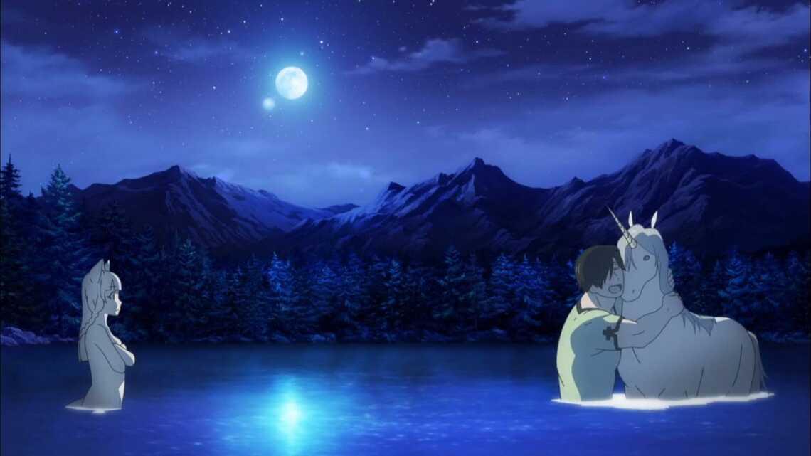 Гензо и единорог, картина маслом, аниме Hataage! Kemono Michi (Дорога зверя)