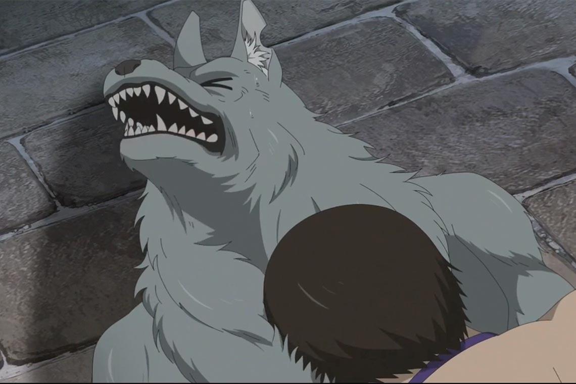 Гензо затискает люього зверочеловека и зверя, вне зависимости от пола и возраста (аниме Hataage! Kemono Michi (Дорога зверя))