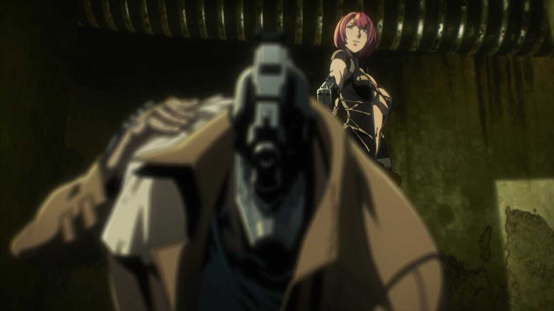 Pepper стреляет в Джузо Инуи, 1 серия аниме No guns life (Жизнь без оружия)