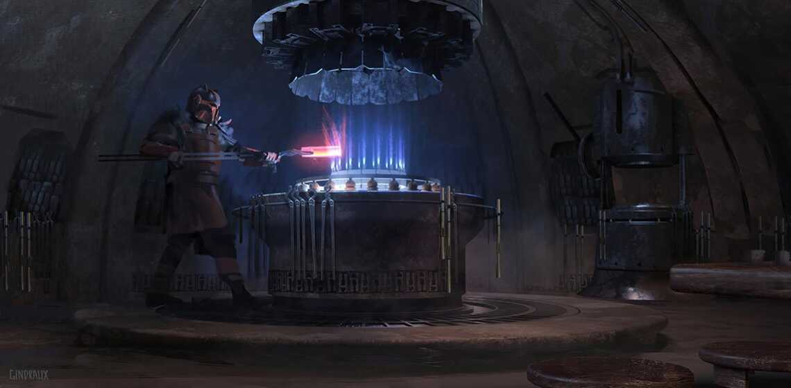 Smithy in the Mandalorian shelter concept art 8192x4000pix