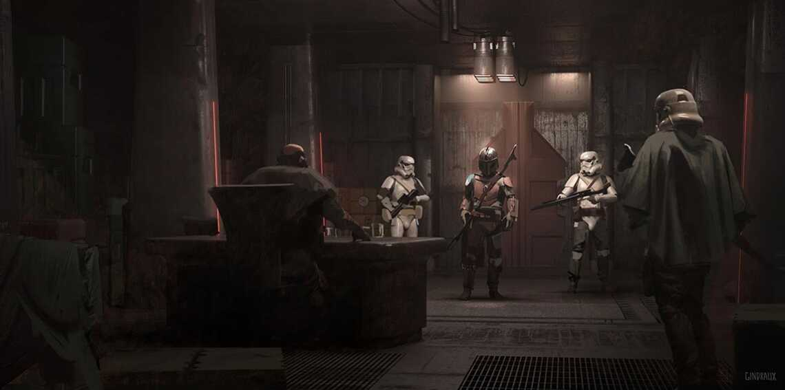 Concept art with mandalorian. communicating with the customer
