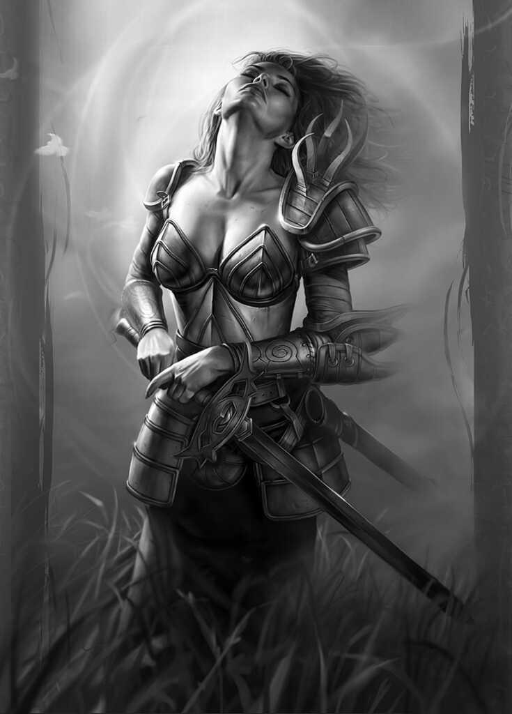 Леди Арибет де Тильмаранд (Aribeth de Tylmarande) паладин из Neverwinter Nights, wallpaper 4K