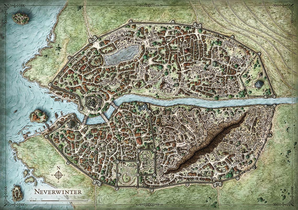 Карта Neverwinter Nights в высоком разрешении | map Neverwinter 4K wallapaper (digital background old game)