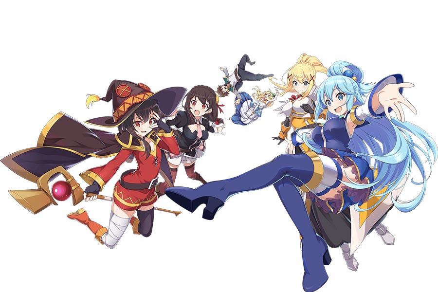 Персонажи мобильной RPG игры KonoSuba Fantastic Days