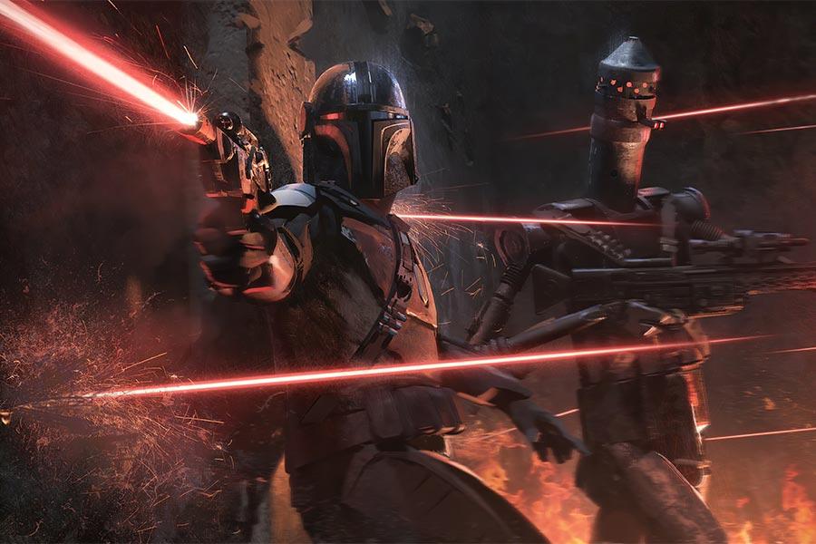 боевой дроид-убийца IG-11 и мандалорец, официальный арт