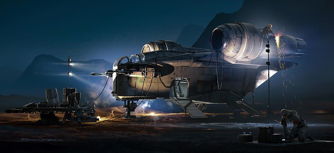 Ремонт космического корабля после набега джавов (официальный арт)