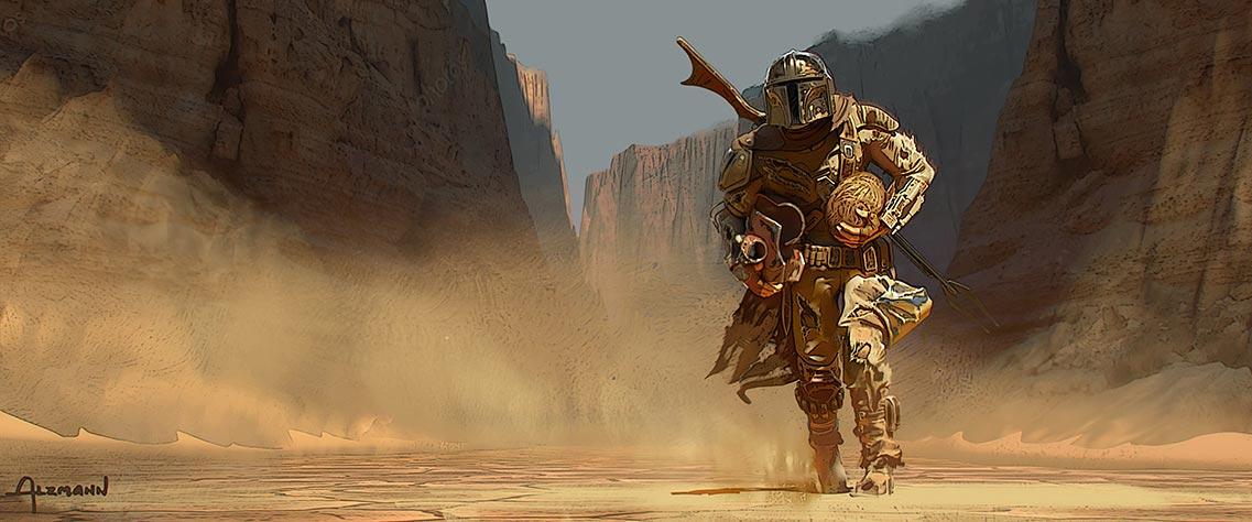 Мандалорец идёт по пустынному карьеру, арт в формате 4K