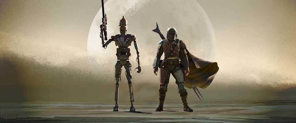 Mandalorian and dangerous assassin droid IG-11 (4K wallpaper)
