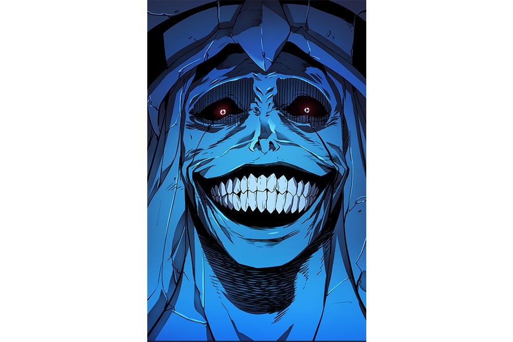 Манга\манхва Solo Leveling, арт с улыбкой повелителя из Храма Картенона