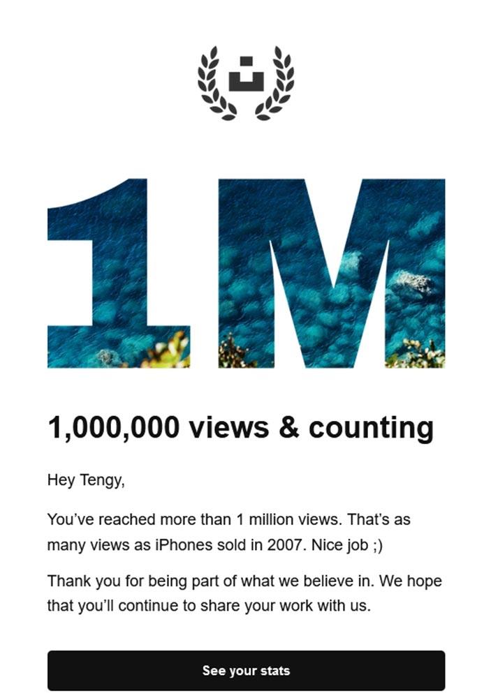 Позщдравление с 1 миллионом просмотров на Unsplash