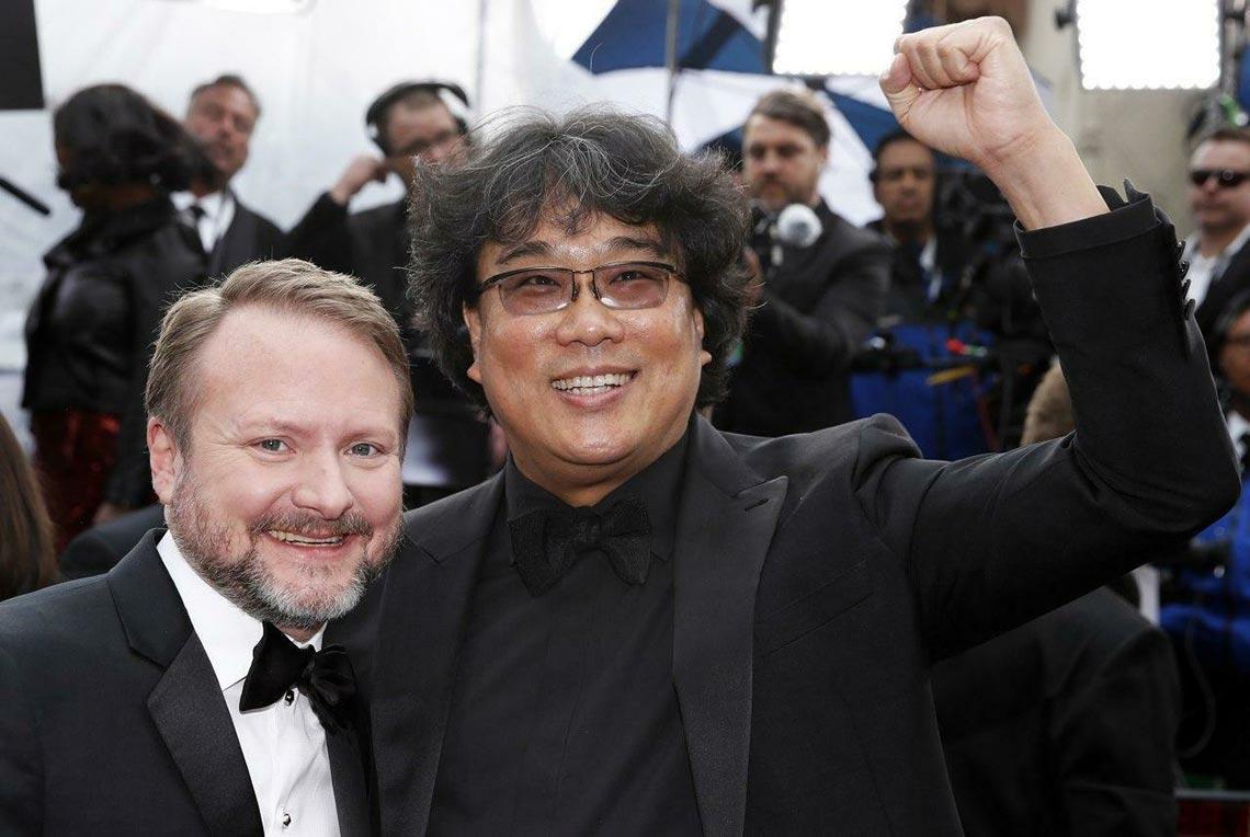 Пон Чжун-Хо и Райан Джонсон, фото с церемонии Оскар в 2020 году