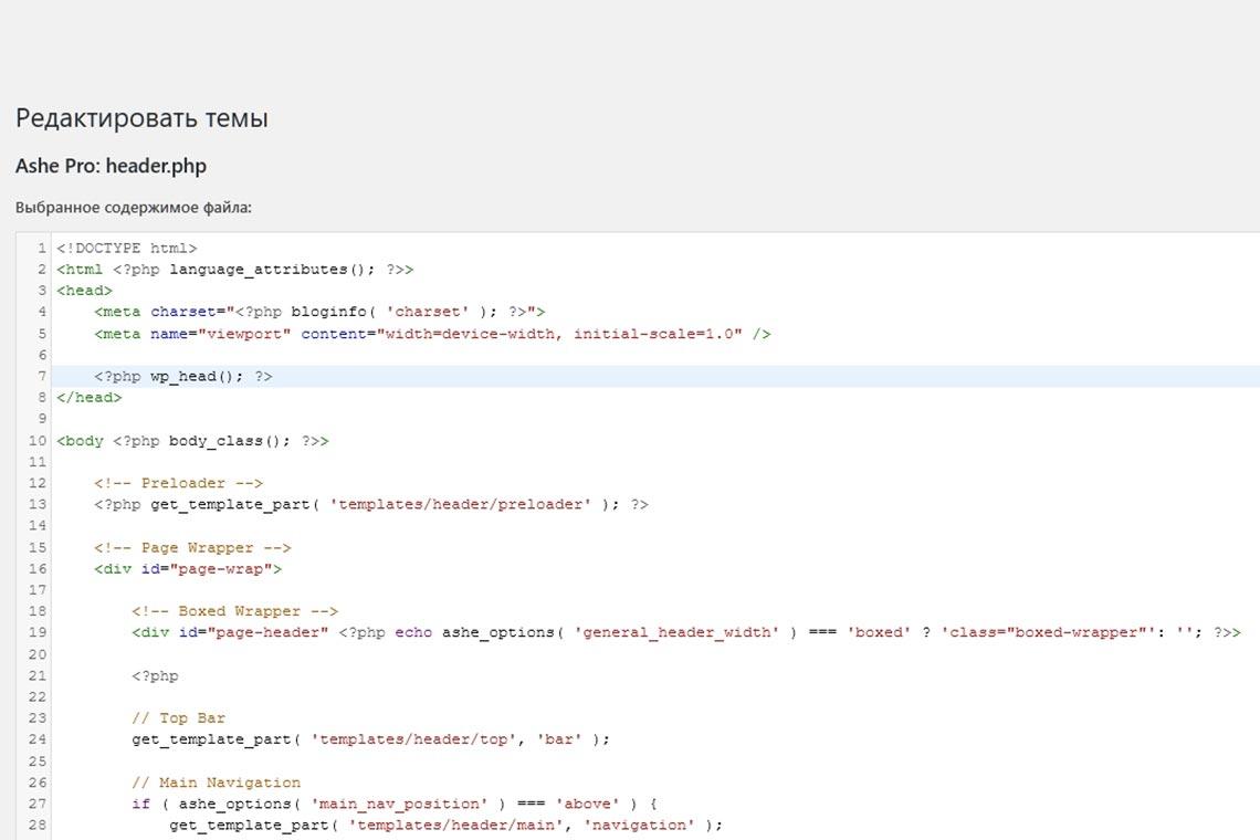 Как настроить viewport для мобильной версии сайта на CMS WordPress в редакторе тем на базе Ashe Pro, модифицируя header.php