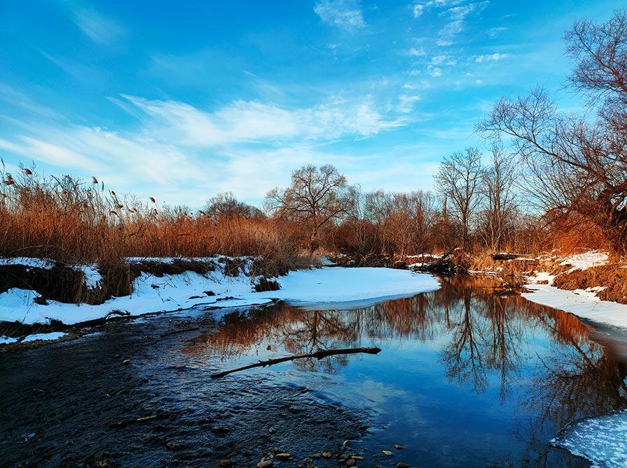 Фотография неба и пейзажа, пример снимка со смартфона Realme XT (фон для рабочего стола с озером, деревьями и зимним лесом)