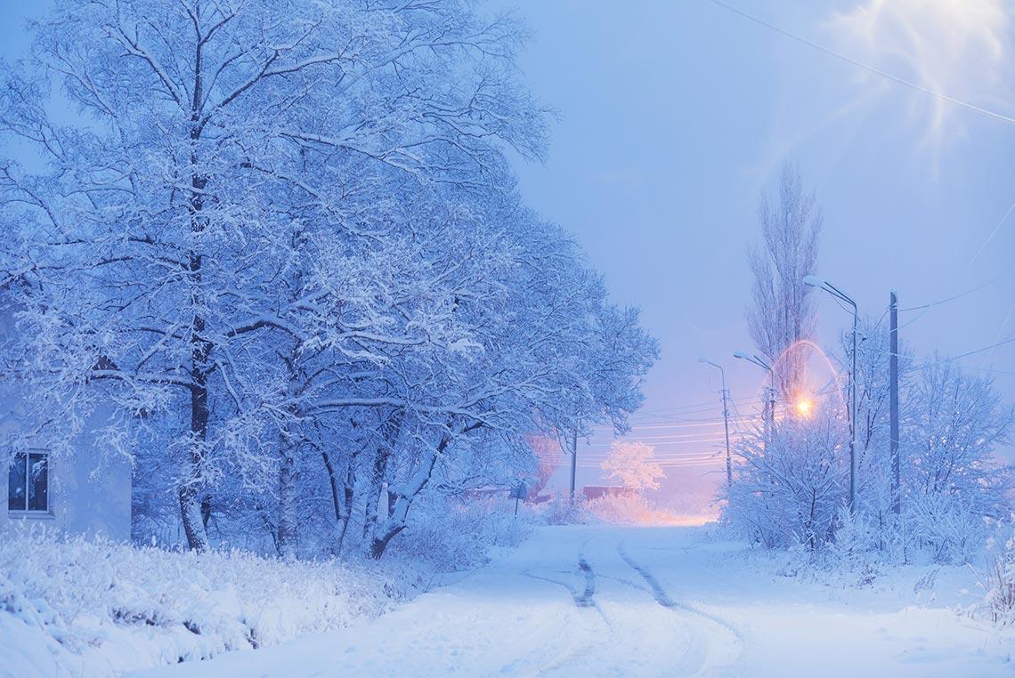 село Золотая Долина (Унаши) Лётный гарнизон, фото (зимний пейзаж 2020 года), автор - Олег Мороз (Tengyart)
