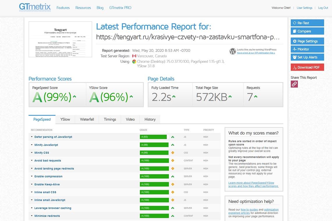 Что быстрее - сайт с Яндекс Метрикой или без неё? Тест сайта Tengyart без сбора статистики с помощью GTmetrix