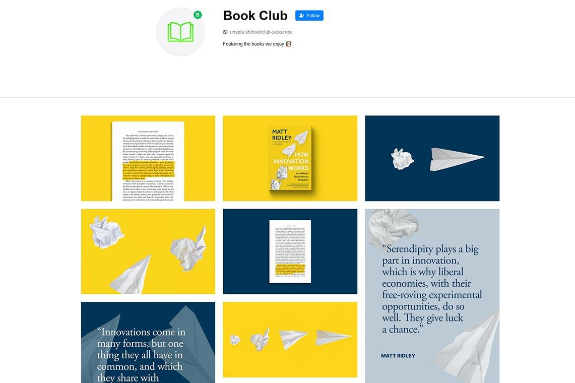 Unsplash Book Club - книжный клуб Unsplash для продвижения авторов (подробности)
