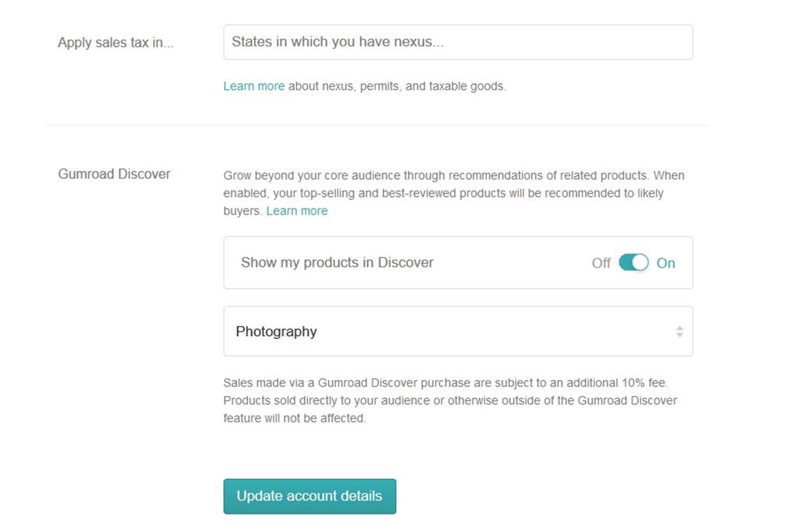 Где включить и как отключить продвижение фото с помощью Gumroad Discover в настройках аккаунта магазина?