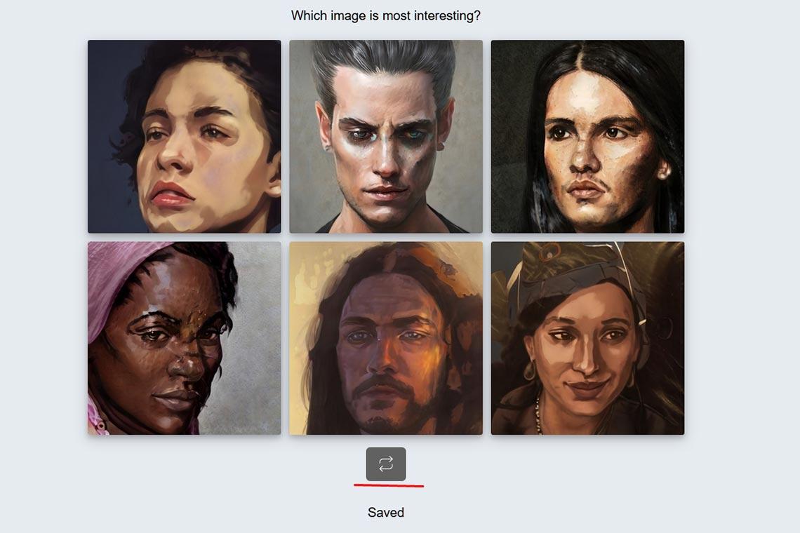 Генератор случайных портретов онлайн и картинок для профиля в социальных сетях (примеры изображений и пиктограмма обновления списка, выделенная красной линией)