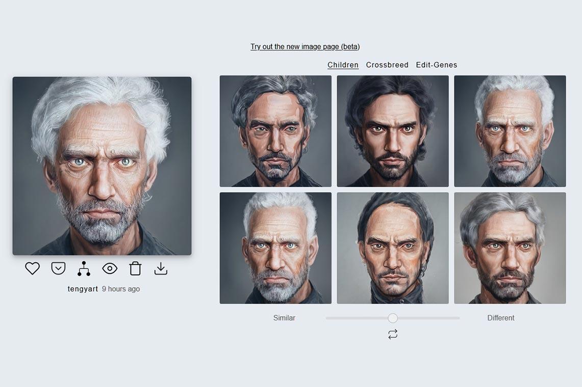 Генератор случайных фото для профиля в нейросети Artbreeder. Примеры изображений, получаемых на основе 1 портрета