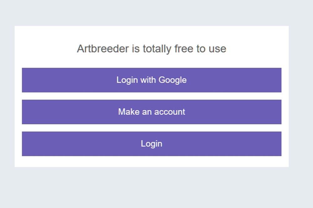 Картинка, на которой показываются варианты регистрации на сайте нейросети Artbreeder