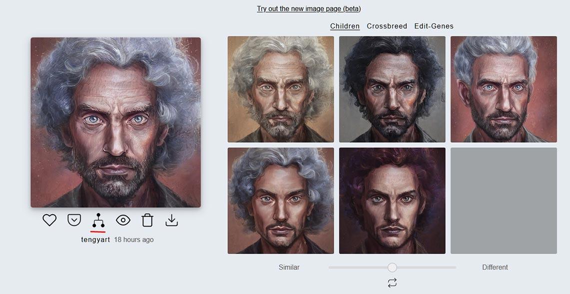 Картинка с фото для профиля и пиктограммой генеалогического древа (ветки мутаций, списка родителей и детей) портретов в Artbreeder, подчёркнутой красной линией
