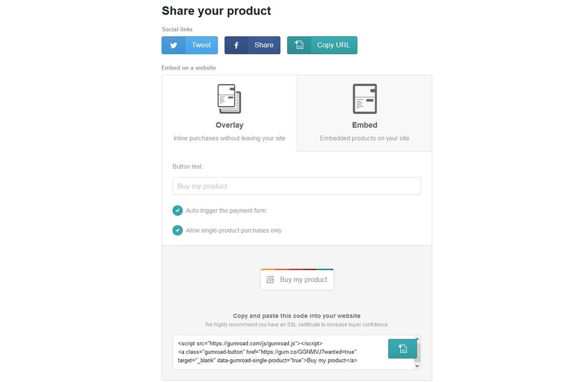 Настройки встраивания ссылок с Gumroad в режиме перекрытия (Overlay)
