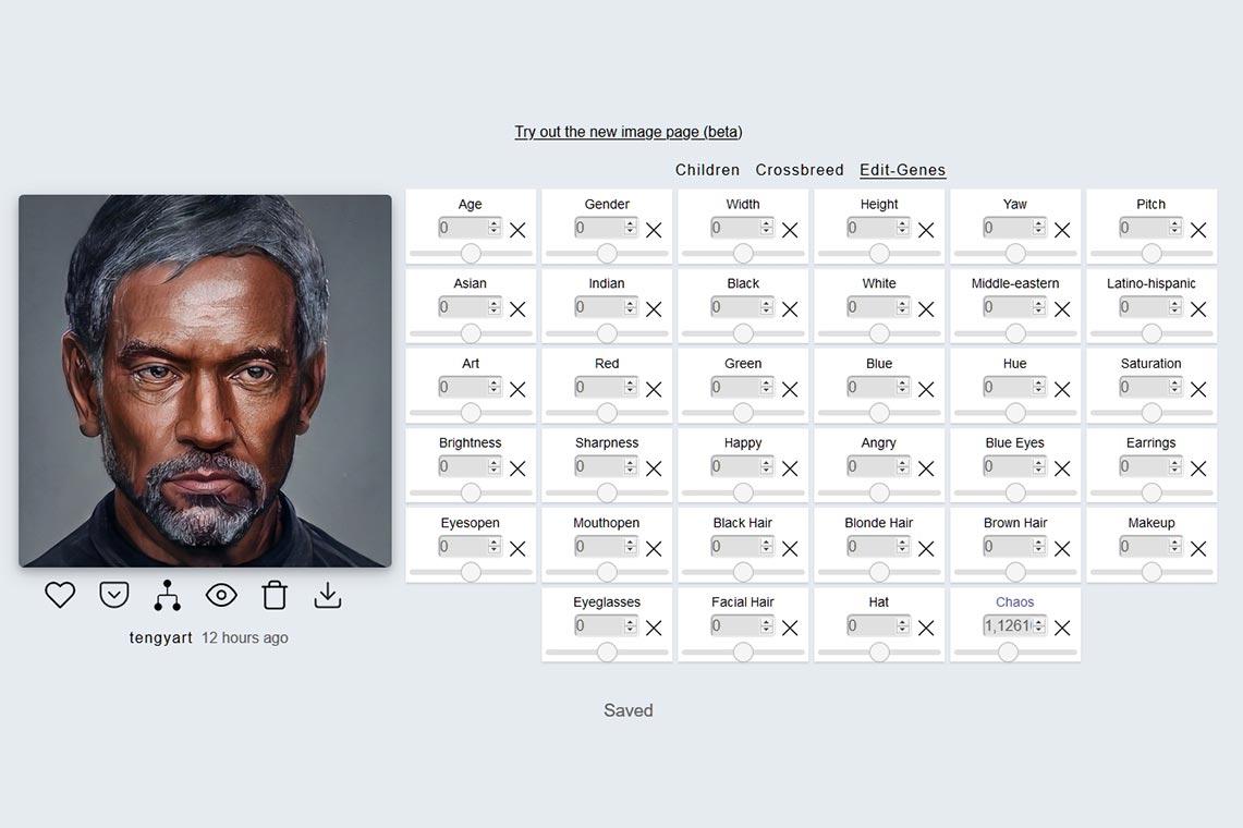 Настройки редактируемых генов (Edit-Genes) в бесплатном онлайн генераторе портретов и картинок на аватарку Artbreeder